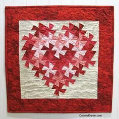 Lots of free quilt tutorials are shared by Connie Kresin Campbell with beautiful photos of how to make the quilts, runners, totes and other things. Heart Quilt Pattern, Quilt Patterns Free, Heart Patterns, Free Pattern, Easy Quilts, Mini Quilts, Small Quilts, Flick Flack, Twister Quilts