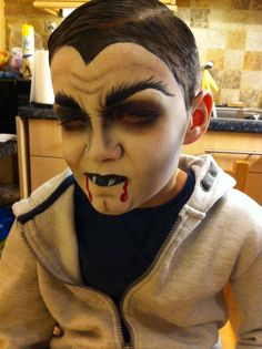 I did my nephews makeup for Halloween! A scary Vampire :) I used White Superstar face paint, and black eyeshadow! Scary Face Paint, Face Painting Halloween Kids, Halloween Makeup For Kids, Halloween Train, Childrens Halloween Party, Halloween Costumes Kids Boys, Kids Makeup, Halloween 2019, Scary Halloween