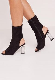 Faux Suede Perspex Peep Toe Heeled Boots Black