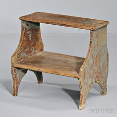 Blue-painted Step Stool | Sale Number 2824T, Lot Number 1212 | Skinner Auctioneers