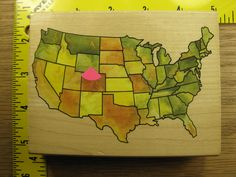 USA MAP BY RUBBER STAMPEDE UNITED STATES OF AMERICA Rubber Stamp #435