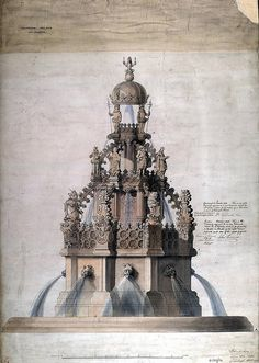 Architectural drawing of new fountain for Holyrood Palace by peacay,