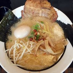 Garlic Tonkotsu Shoyu Ramen (Specialty extra rich Shoyu-flavored Pork Broth with lots of garlic) - KuKai Ramen & Izakaya (Capitol Hill)