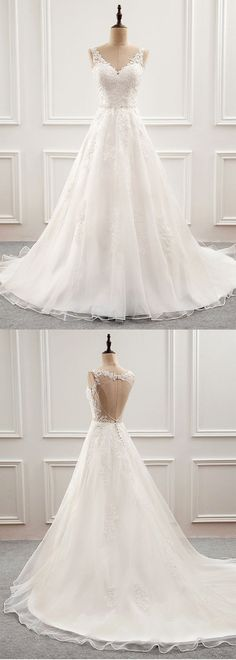 Open Back Wedding Dresses Long Train Romantic Appliques Simple Wedding Dress - Hochzeitskleid - Open Back Wedding Dress, Wedding Dresses With Straps, Wedding Dress Train, Classic Wedding Dress, Modest Wedding Dresses, Cheap Wedding Dress, Bridal Dresses, Lace Wedding, Trendy Wedding