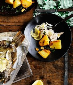 Whole roasted fish with potatoes recipe | Pesce intero al forno | River Cafe, London | Ruth Rogers :: Gourmet Traveller