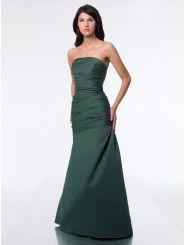 Satin Strapless Floor-Length A-line Bridesmaid Dress