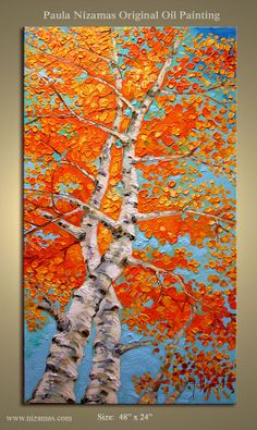 Large Impressionist Palette Knife Painting Silver Birch Trees Modern Canvas Gallery Quality Wrap from Paula Nizamas - badly want to try a pallette knife painting