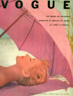 Vintage Vogue Cover ~ Paris ~ Pink and on the Beach. Vogue Vintage, Vintage Vogue Covers, Aesthetic Collage, Aesthetic Vintage, Vogue Magazine Covers, Photocollage, Photo Wall Collage, Picture Wall, Vintage Vibes