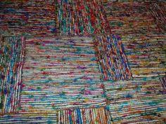 Silkevevd teppe med rutemønster