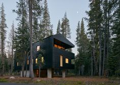 This California cabin by Mork-Ulnes Architects is clad in tar-coated timber and sits atop a concrete plinth, which help protect the home from heavy snowfall