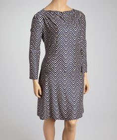 Look what I found on #zulily! Black & Beige Zigzag Pocket Dress - Plus by Reborn Collection #zulilyfinds
