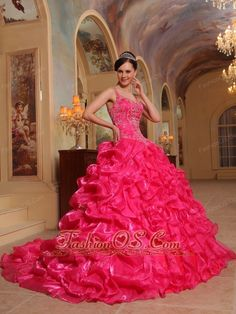 Beautiful Hot Pink Quinceanera Dress Spaghetti Straps Organza Embroidery Ball Gown  http://www.fashionos.com/beautiful-hot-pink-quinceanera-dress-spaghetti-straps-organza-embroidery-ball-gown-p1167.html  The skirt with elegance train swoops outward, expanding in a dual-layered skirt that shows off both luxury and grace. A lace up corset style closure in the back secures the dress in place. Just take this chance to be the most shining star of the party.