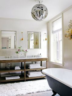 Because i NEED a disco ball in my bathroom. Inside a Beautifully Colorful West Village Townhouse via Townhouse Designs, Townhouse, Interior, West Village Townhouse, Home, Bathroom Trends, Eclectic Interior, Beautiful Bathrooms, Bathroom Inspiration