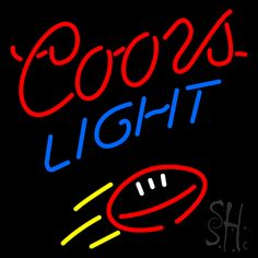 Coors Light Footbal Neon Sign 24 Tall x 24 Wide x 3 Deep, is 100% Handcrafted with Real Glass Tube Neon Sign. !!! Made in USA !!!  Colors on the sign are Red, Blue, White and Yellow. Coors Light Footbal Neon Sign is high impact, eye catching, real glass tube neon sign. This characteristic glow can attract customers like nothing else, virtually burning your identity into the minds of potential and future customers.