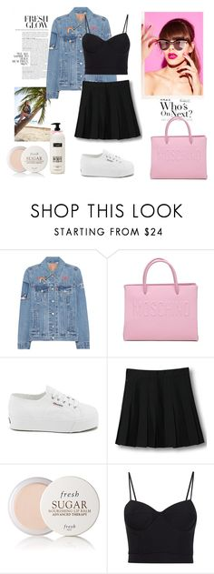 """Back to school look #1"" by sweet-fashionista ❤ liked on Polyvore featuring Levi's, Moschino, Superga, WithChic, Fresh, Alexander Wang, bts and august2016"