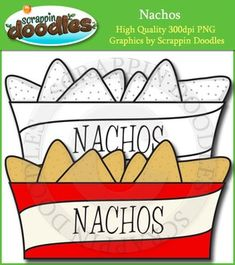 """Our Nacho clip art includes one color image and one black & white image.Graphic comes in PNG format only 300 dpi.My graphics are suitable for printing and digital projects and can be easily re-sized smaller to suit other needs, graphics measure up to approx 5"""".Original Artwork by Scrappin DoodlesScrappin DoodlesKey Words: nachos, fast food, cute, clip art, clipart, card making graphics, paper crafting graphics, illustrationsMy Terms of Use Page:"""