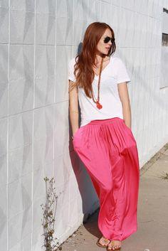 long, pink skirt
