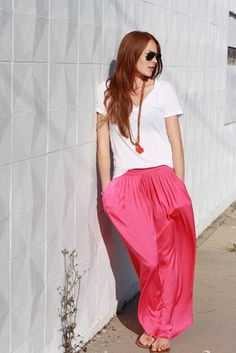 watermelon pink skirt and white tee