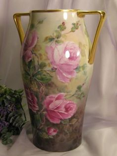 ~ TRULY REMARKABLE LARGE VICTORIAN TEA ROSES VASE ~ Gorgeous Antique from oldbeginningsantiques on Ruby Lane