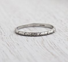 Antique Platinum Wedding Band Ring - Art Deco 1920s Wedding Engagement Stacking Orange Blossom Signed Werner Fine Jewelry / Eternity Flowers by Maejean Vintage on Etsy, $385.00