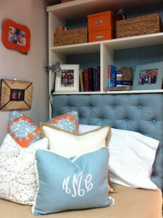 Dorm room - Bookshelf with attached tufted headboard by Mike Mason
