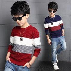 fashion brand teenage boys sweater autumn boy outwear sweaters cotton kids sweater blue red striped children knitwear clothing Source by. Boys Sweaters, Fall Sweaters, Casual Sweaters, Knitting Sweaters, Kids Fashion Boy, Teen Fashion, Fashion Brand, New Fashion Clothes, Fashion Outfits