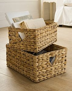 Water Hyacinth Set 2 Heart Open Baskets | Fashion World