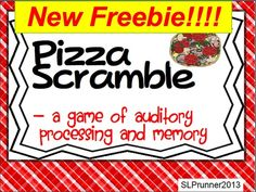 Fun 10 slide freebie. It is an auditory processing, sequencing, and memory activity where students act as customers, servers, cooks, and supervisors in a pizza shop. The customer orders from a menu and the server must recall the order and express it to the cook. The cook must recall the order and assemble the pizza. The supervisor provides cues as needed.