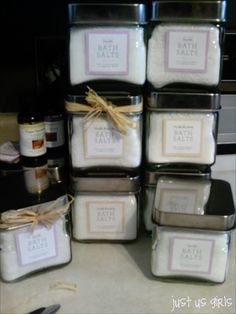 easy DIY bath salts + free printable labels