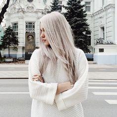 белые волосы, девушка, улица, белый свитер