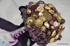 Gold & Purple Button Bouquet #wedding #bouquet