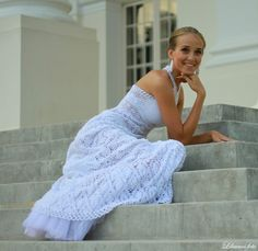 Crocheted NEW white unique marvelous wedding dress by LaimInga, $299.00
