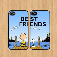 Charlie Snoopy Best Friends iphone 5 Case Soft Rubber - Set of Two Cases (Black or White ) SHIP FROM CA by Cases, http://www.amazon.com/dp/B00FFKFHTY/ref=cm_sw_r_pi_dp_g6dwsb03RA3CH