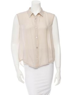 Taupe Acne silk top with raw-edge trim at sleeves and button closures at front.