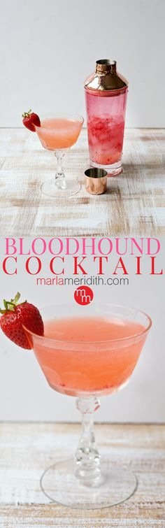 Bloodhound Cocktail recipe, a refreshing drink with fresh strawberries, gin and vermouth | MarlaMeridith.com ( @marlameridith )