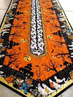 Table Runner  Extra Long Quilted Haunted Halloween by SallyManke