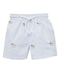 Loving this Blue Dog Embroidery Swim Trunks - Infant, Toddler & Boys on #zulily! #zulilyfinds