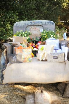 Farmer's Market Wedding at Parker Ranch Old truck full of produce and wedding gifts #wedding #country