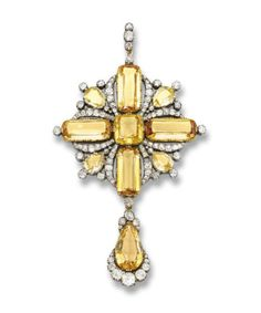 Citrine & Diamond Cross Pendant Circa 1880.