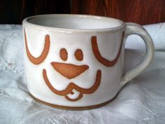 Dog Mugs Handmade Stoneware Pottery by spinningstarstudio on Etsy