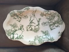 """J WILLFRED Charles Bunny Toile  Large Platter 20"""" Easter"""