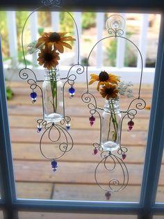 Miniature Bottle Bud Vase for Daisies Violets and Buttercups Glass Bottle Crafts, Bottle Art, Hanging Vases, Bud Vases, Art Fil, Copper Wire Art, Miniature Bottles, Wire Crafts, Mason Jar Crafts