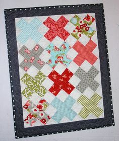 quilt card inspiration from A Quilter's Table: Ruby X ... little square or a bargello technique would make a cute emulation ...