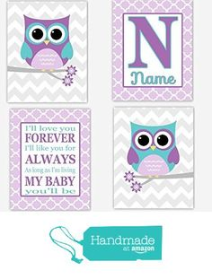 Owl Girl Nursery Wall Art Purple Lavender Teal Love You Forever Personalize Name…
