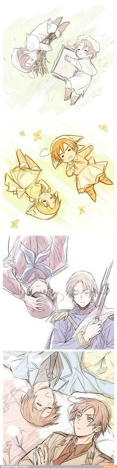 Lovino (S. Italy) and Feliciano(N.Italy) growing up - Art by つまこ