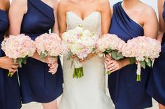 costco sells hydrangeas in bulk for a very good price. bridesmaids bouquets can be easily made by combining a few of them together and voila! it's perfect. :) only if you decide on flowers on a budget. - erin