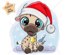 Cartoon Charecters, Cute Cartoon Animals, Cute Mouse, Christmas Clipart, Christmas Illustration, Typography Prints, Free Illustrations, Nursery Prints, Santa Hat