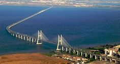 Ponte Vasco da Gama / It is equipped with a 17.185 kilometers of the longest bridges in the world and the longest in Europe. The maximum span of 420 meters, the pylons are 155 meters high.