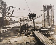 Brooklyn Bridge, ca. 1880 Brooklyn Bridge, ca. Bridge Construction, Under Construction, Construction Business, Construction Birthday, Construction Design, Brooklyn Bridge, Brooklyn Image, Brooklyn Girl, Old Pictures