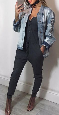#fall #outfits · Denim Jacket // Dark Blue Jumpsuits // Pumps
